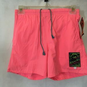 Mens NWT VTG 90's Pink Instinct Mesh Swim Shorts